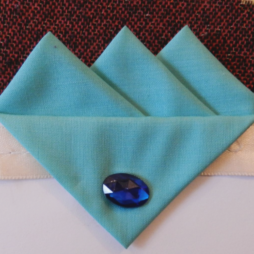Blue (Bubblegum) Three Point Pocket Hankie & Pin